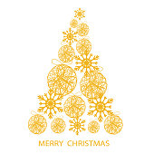 Gold Christmas Tree with Stars ans Snowflakes for your Merry Christmas Design, stock vector illustration