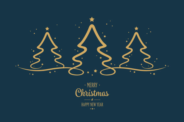gold christmas trees stars greeting blue background - weihnachten stock-grafiken, -clipart, -cartoons und -symbole