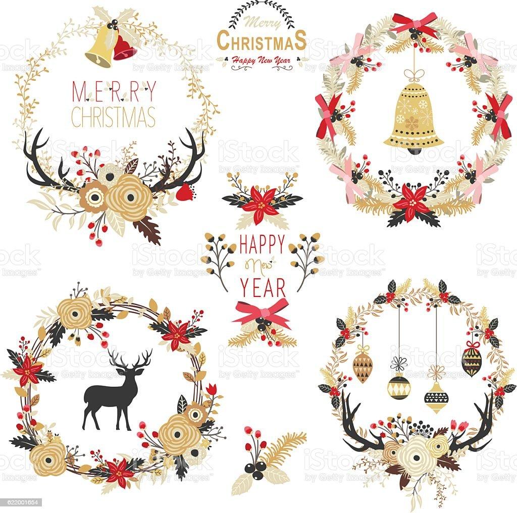 Gold Christmas Wreath Elements Illustration Stock ...