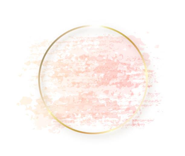 金色圓形框架與柔和的裸體粉紅色紋理和陰影隔離在白色的背景。幾何圓形狀邊界在金色箔化妝品, 美容, 化妝範本 - 淺粉色 幅插畫檔、美工圖案、卡通及圖標