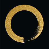Gold circle glitter texture paint brush on black background - Illustration