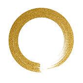 Gold circle glitter texture paint brush on vector white background - Illustration