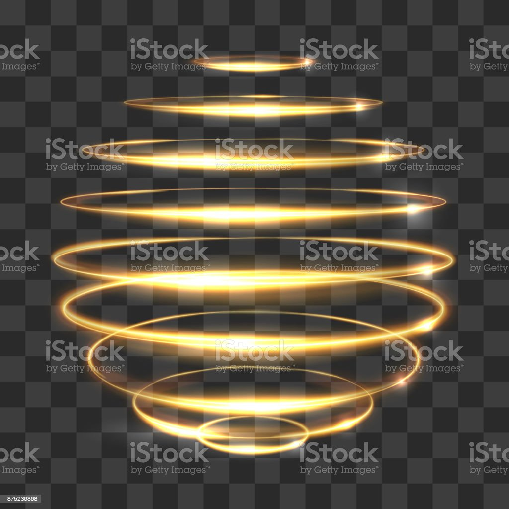 Gold circle light tracing effect, glowing magic 3d sphere isolated on transparent background vector art illustration
