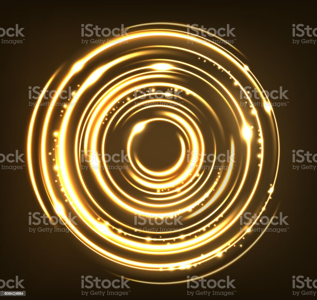 Gold circles with sparks background vector art illustration