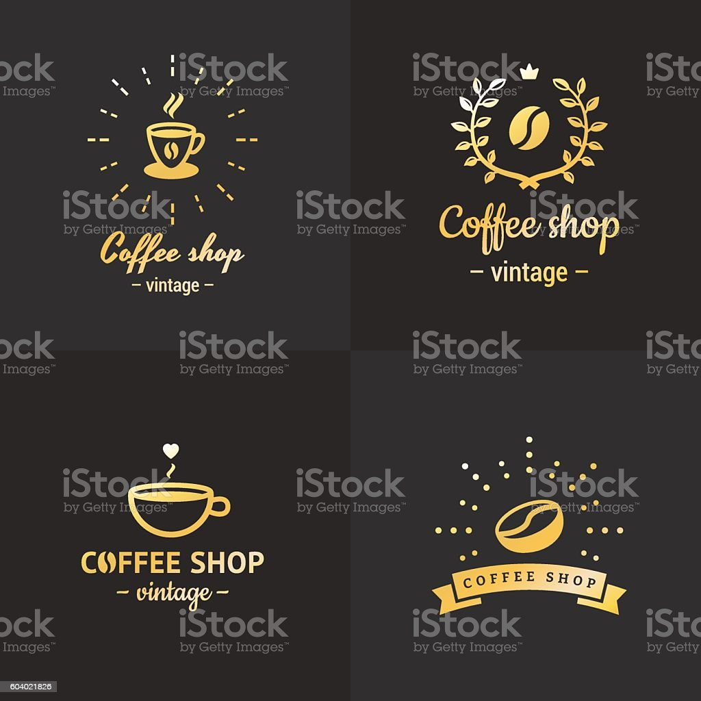 Gold coffee shop vintage hipster logo vector set. Part two. vector art illustration