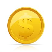 Gold coin. Gold coin isolated on white background. Gold coin, vector illustration.