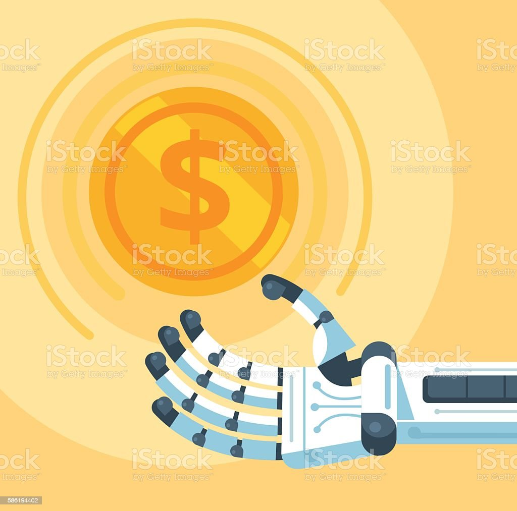 Gold coin in robot hand. Vector flat cartoon illustration vector art illustration