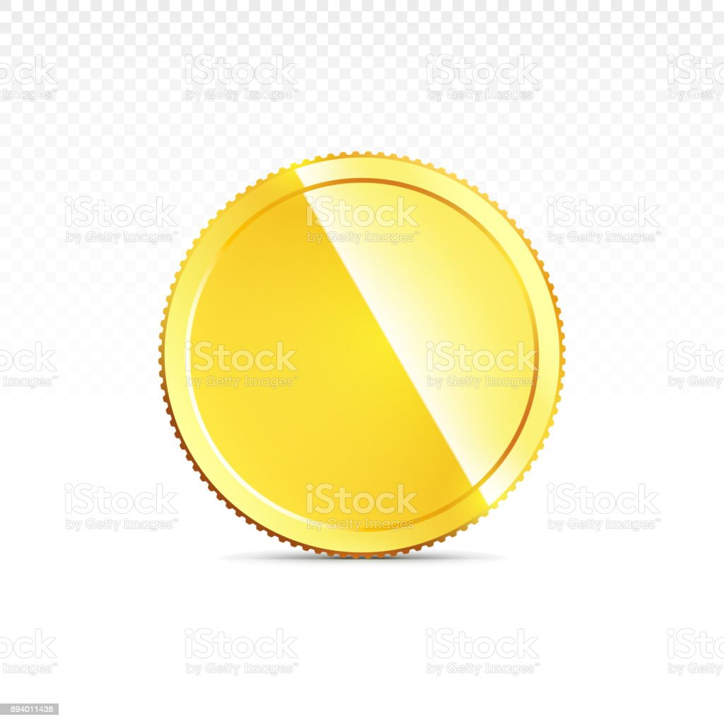cc21dcf64b65 Gold coin isolated on transparent in different positions - Illustration .