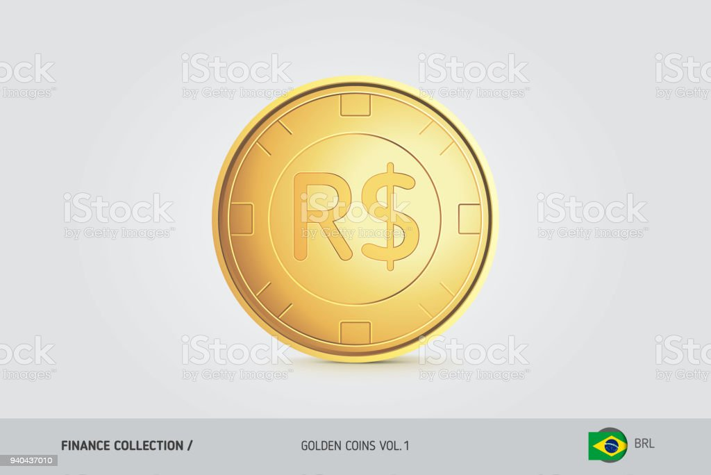 Gold Coin Realistic Golden Brazilian Real Coin Isolated Object On