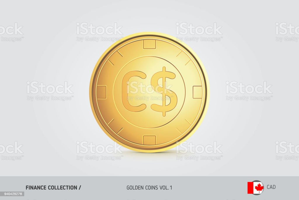 Gold Coin Realistic Golden Canadian Dollar Coin Isolated Object On
