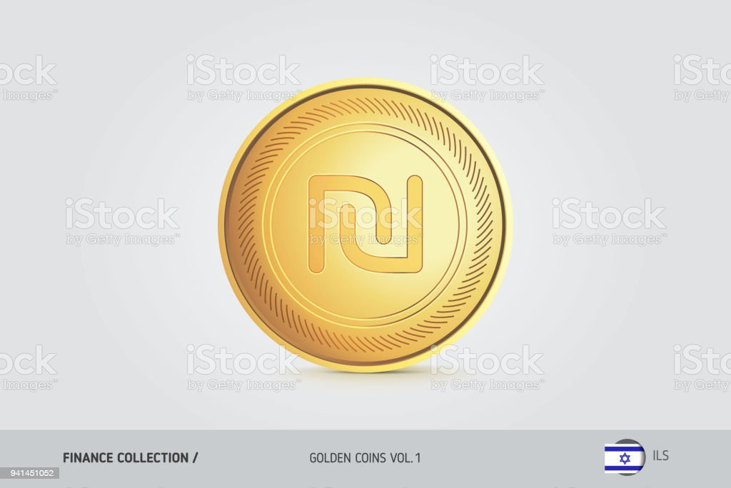 Gold Coin Realistic Golden Israeli New Shekel Coin Isolated Object