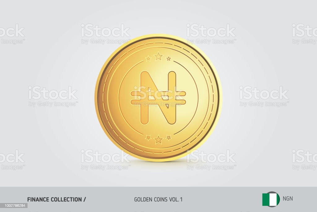 Gold Coin Realistic Golden Nigerian Naira Coin Isolated Object On