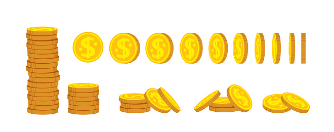 Coin stack flat cartoon set. Gold coins pile heap, bank currency sign. Pennies turn around, animation for game, apps. High stacks, financial growth. Hundreds cash bill. Isolated vector illustration