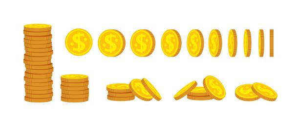ilustrações, clipart, desenhos animados e ícones de pilha de moedas de ouro conjunto de desenho animado plano definido vetor financeiro - moeda