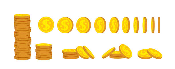 Gold coin stack flat cartoon set financial vector Coin stack flat cartoon set. Gold coins pile heap, bank currency sign. Pennies turn around, animation for game, apps. High stacks, financial growth. Hundreds cash bill. Isolated vector illustration coin stock illustrations