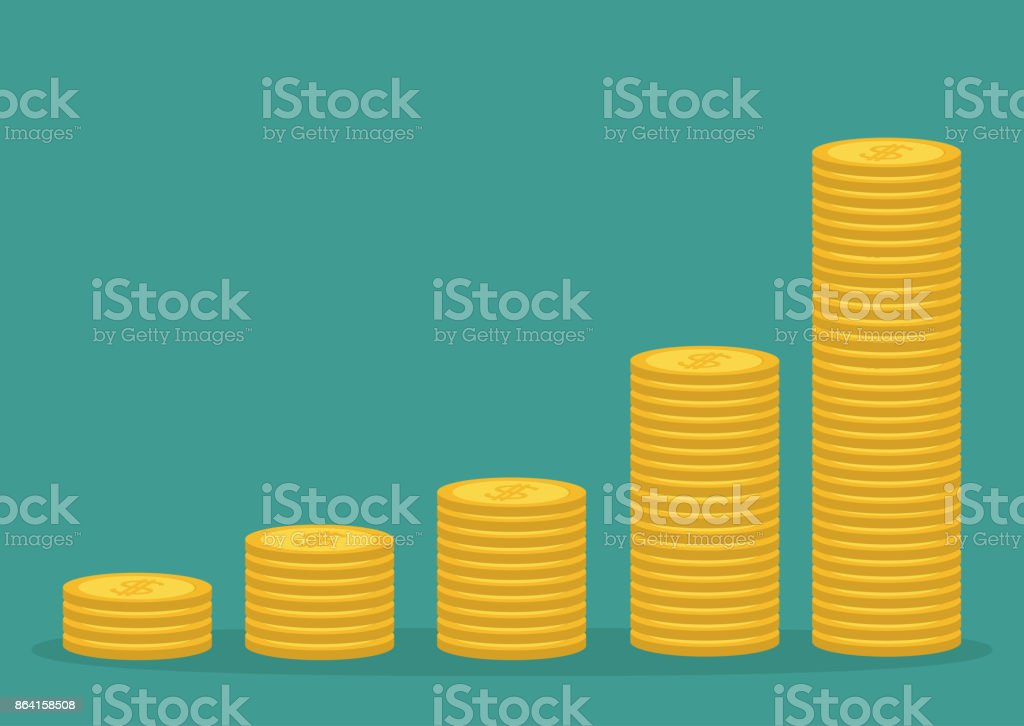 Gold coin stacks icon in shape of diagram. Dollar sign symbol. Cash money. Going up graph. Income and profits. Growing business concept. Isolated. Green background. Flat design. royalty-free gold coin stacks icon in shape of diagram dollar sign symbol cash money going up graph income and profits growing business concept isolated green background flat design stock vector art & more images of backgrounds
