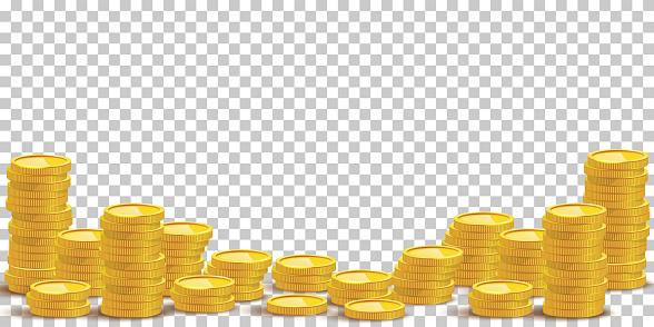 Gold coin stacks mockup vector illustration