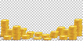 Gold coin stacks mockup vector illustration. Cash heap, wealth isolated on transparent background. Banking service, money loan. Successful investment, jackpot. Salary increase, revenue growth