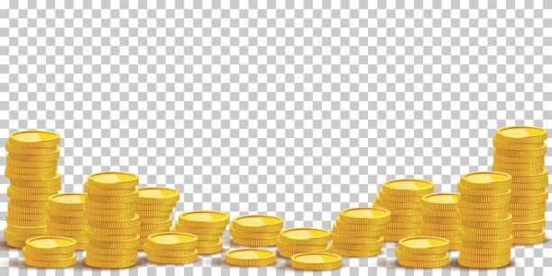 ilustrações, clipart, desenhos animados e ícones de ilustração do vetor da mockup das pilhas da moeda de ouro - moeda