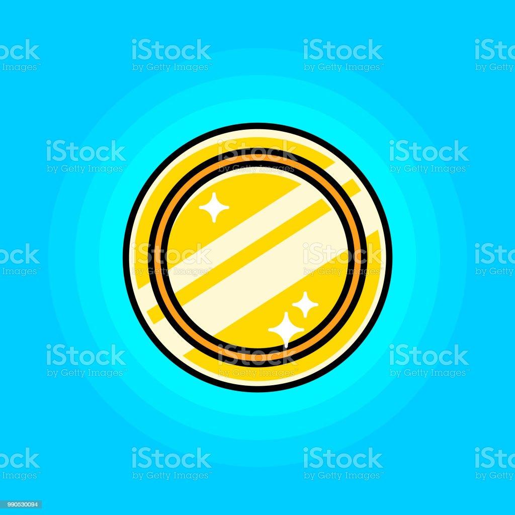 Gold Coin Token Icon Black Contour Stock Vector Art & More Images of