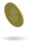 Gold coin with dollar sign. Isometric vector illustration isolated on white background