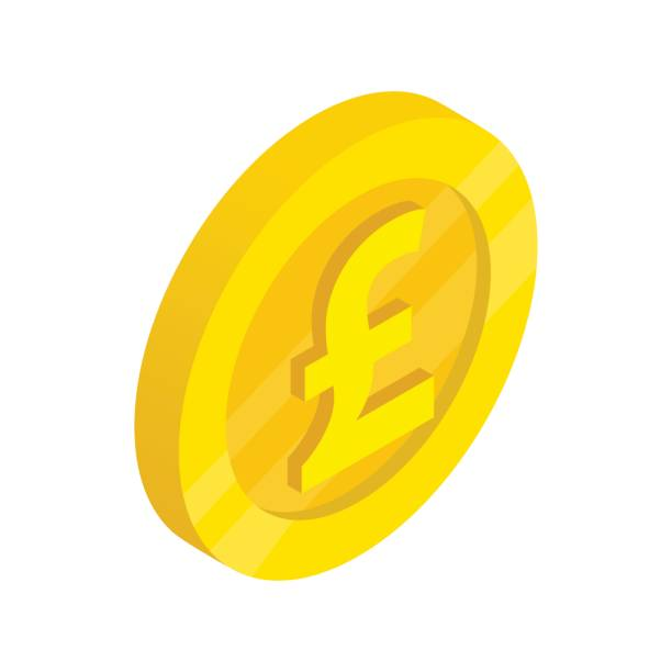 gold coin with pound sign icon, isometric 3d style - символ фунта stock illustrations