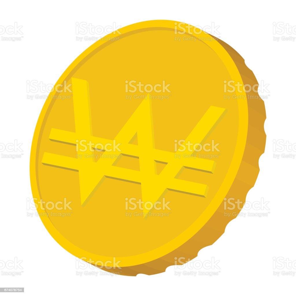 Gold coin with Won sign icon, cartoon style gold coin with won sign icon cartoon style - arte vetorial de stock e mais imagens de antiguidades royalty-free