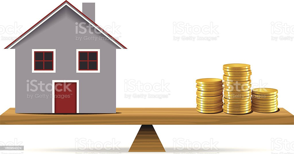 Gold Coins and Mortgage House royalty-free stock vector art