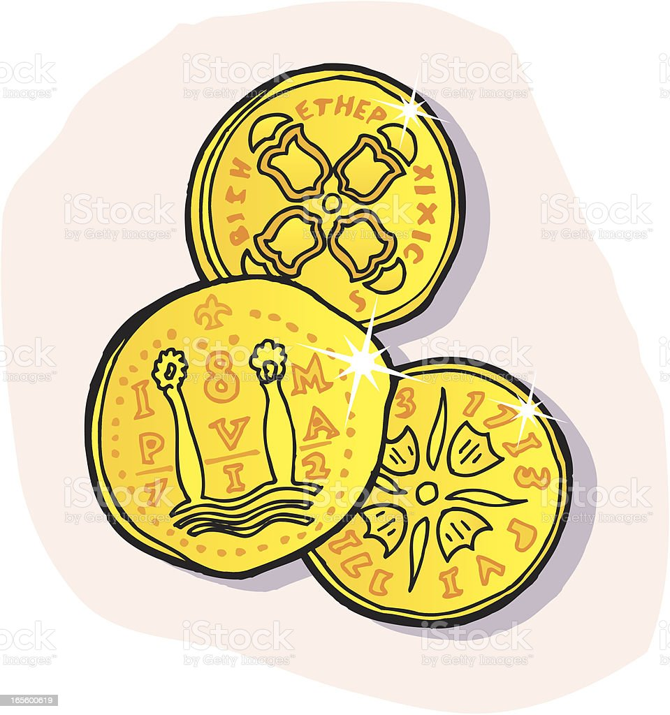 Gold Coins - Cartoon royalty-free stock vector art