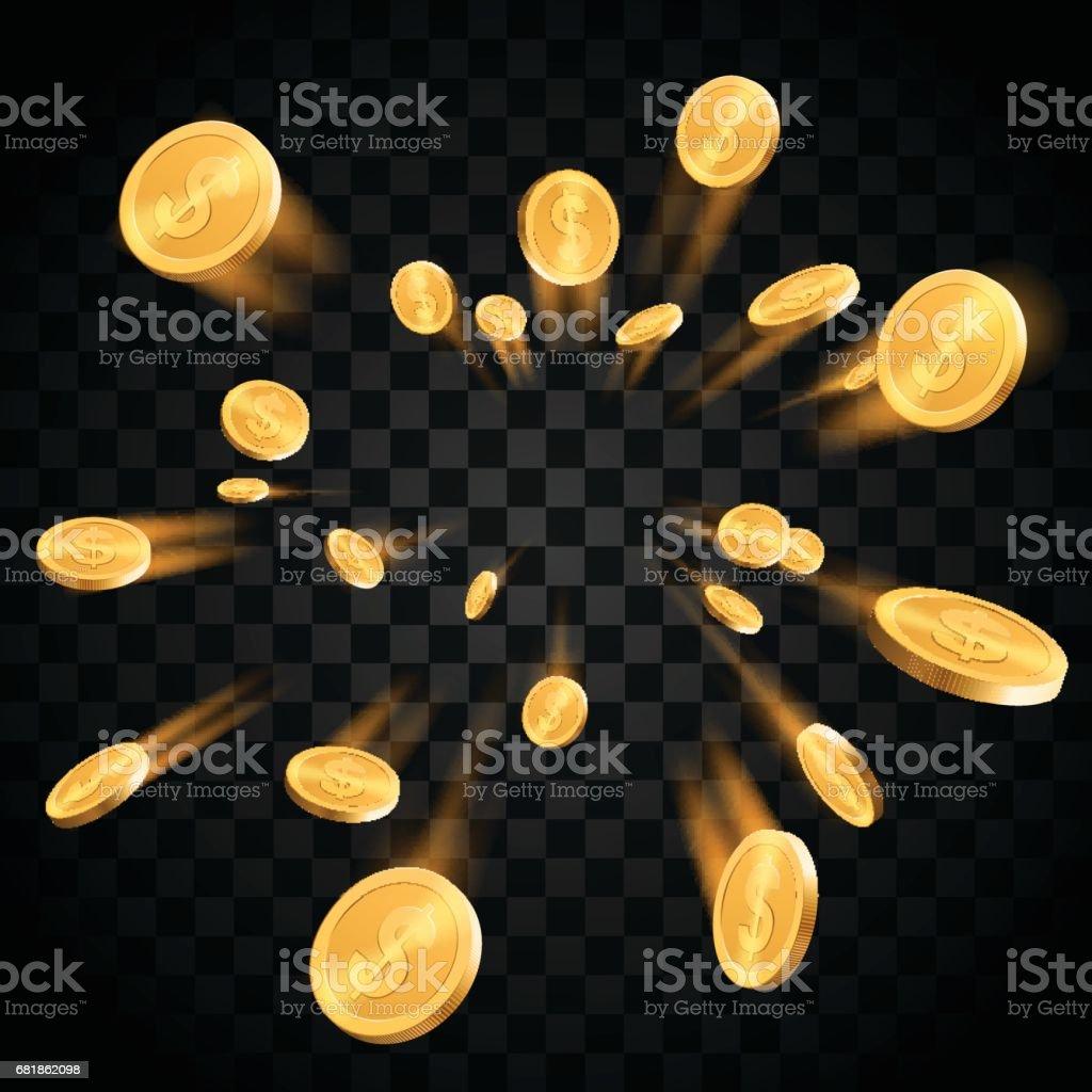 Gold coins explosion vector art illustration
