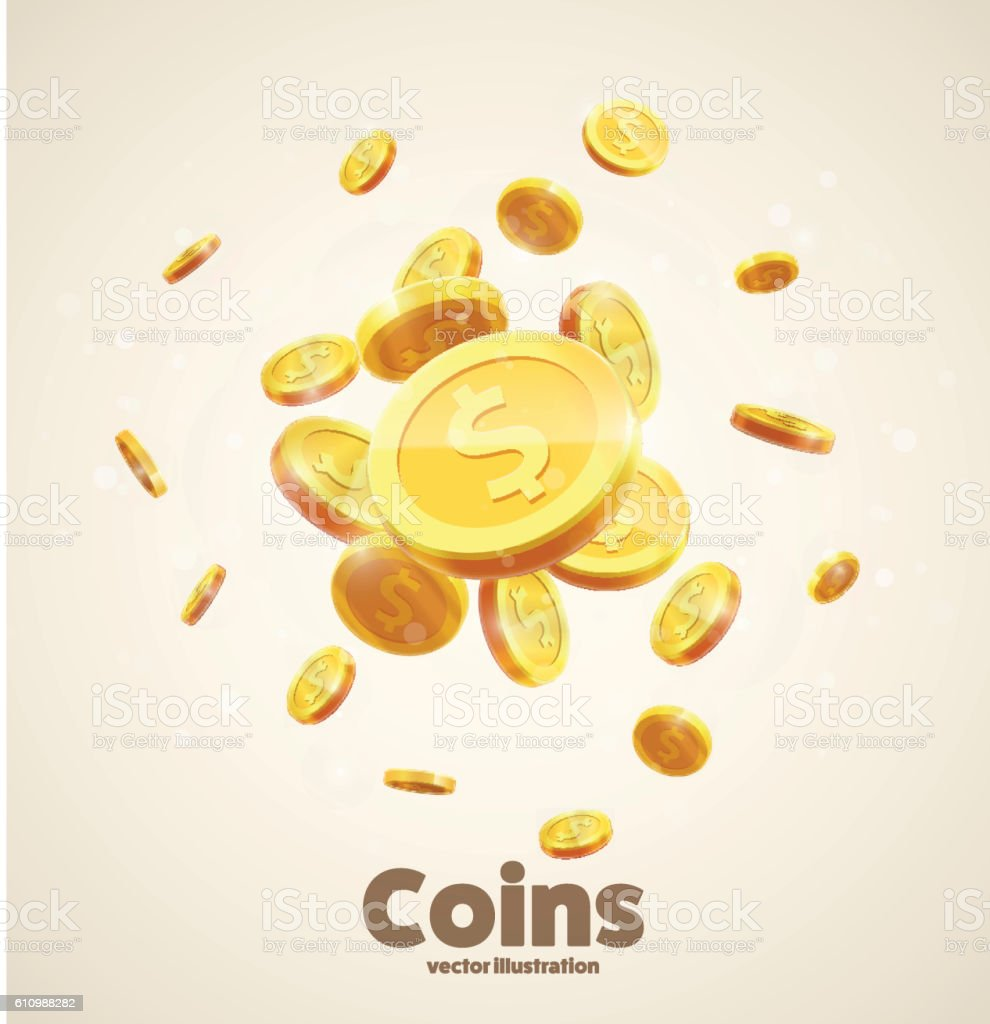 gold coins falling 3d realistic vector coin icon with shadows vector art illustration