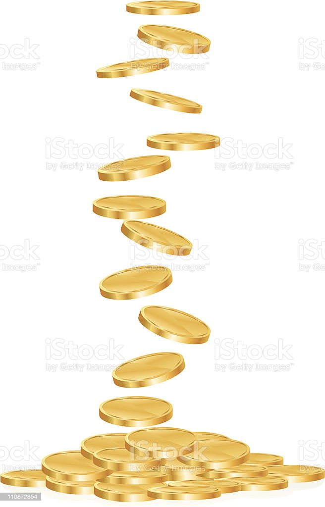 Gold Coins Falling royalty-free gold coins falling stock vector art & more images of close-up