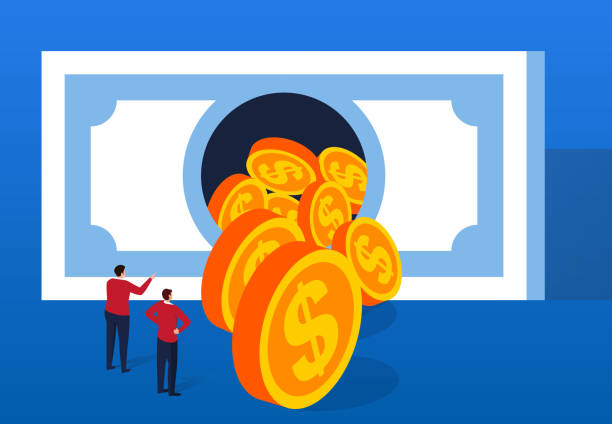Gold coins flow out of huge banknotes Gold coins flow out of huge banknotes bailout stock illustrations