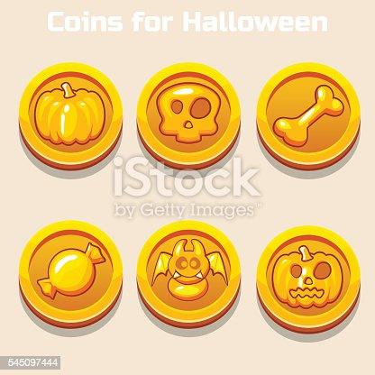 gold coins for Halloween in vector icons
