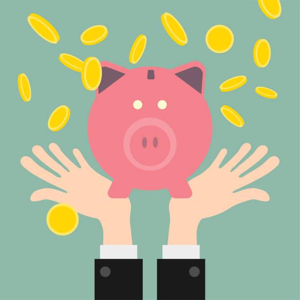 Gold coins piggy bank vector art illustration