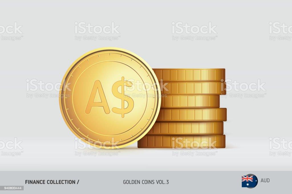 Goldmünzen Realistische Australischer Dollar Münze Stand In Der Nähe