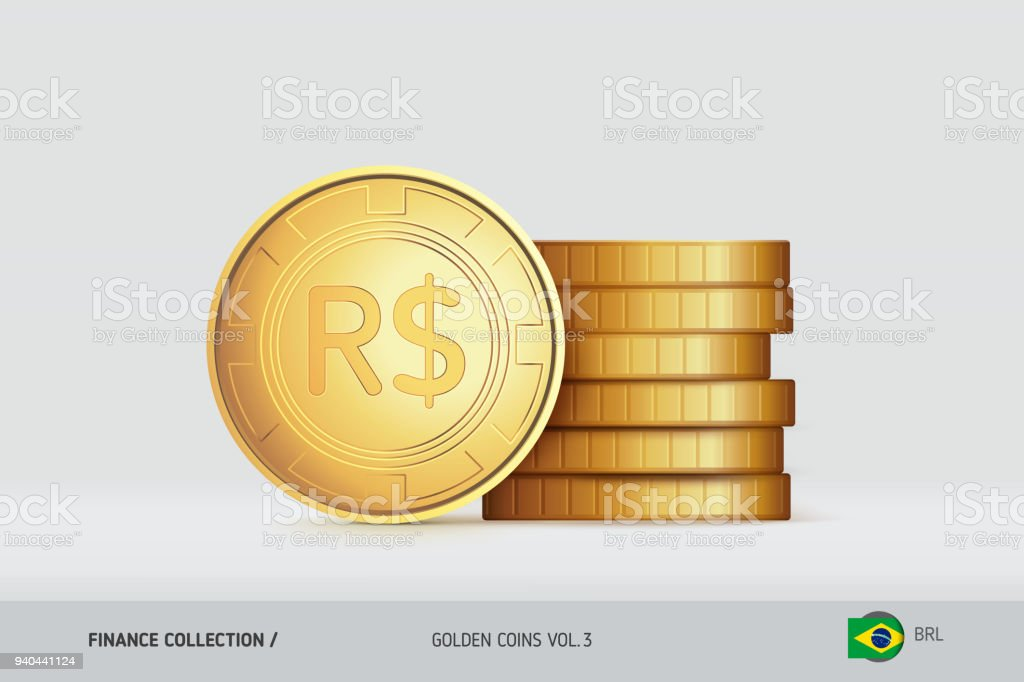 Gold Coins Realistic Brazilian Real Coin Standing Near Of Stacked
