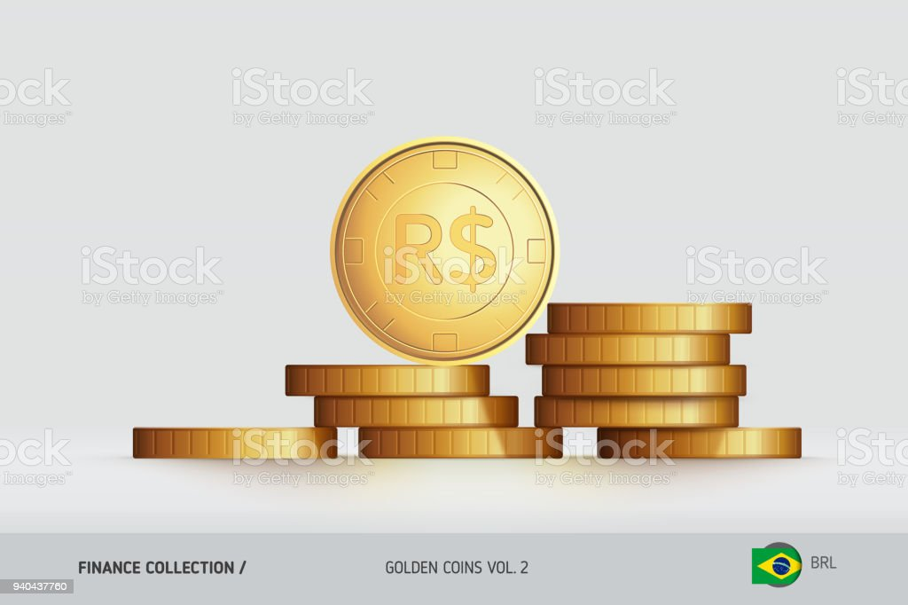 Gold Coins Realistic Brazilian Real Coin Standing On Stacked Coins