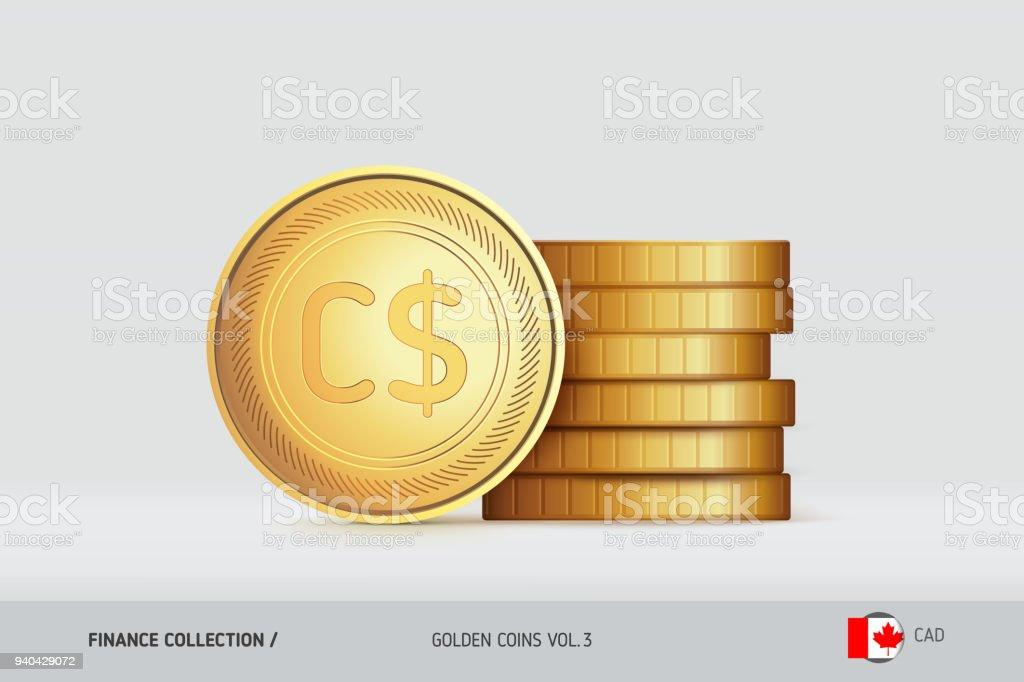 Goldmünzen Realistische Kanadische Dollar Münze Stand In Der Nähe