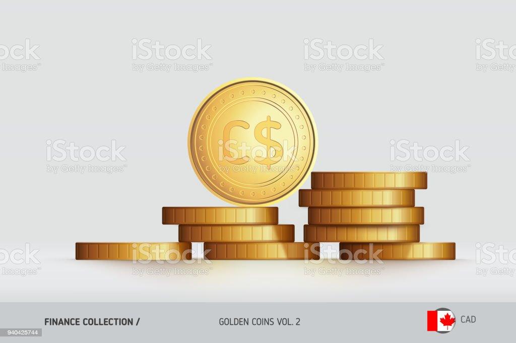 Goldmünzen Realistische Kanadische Dollar Münze Auf Gestapelten