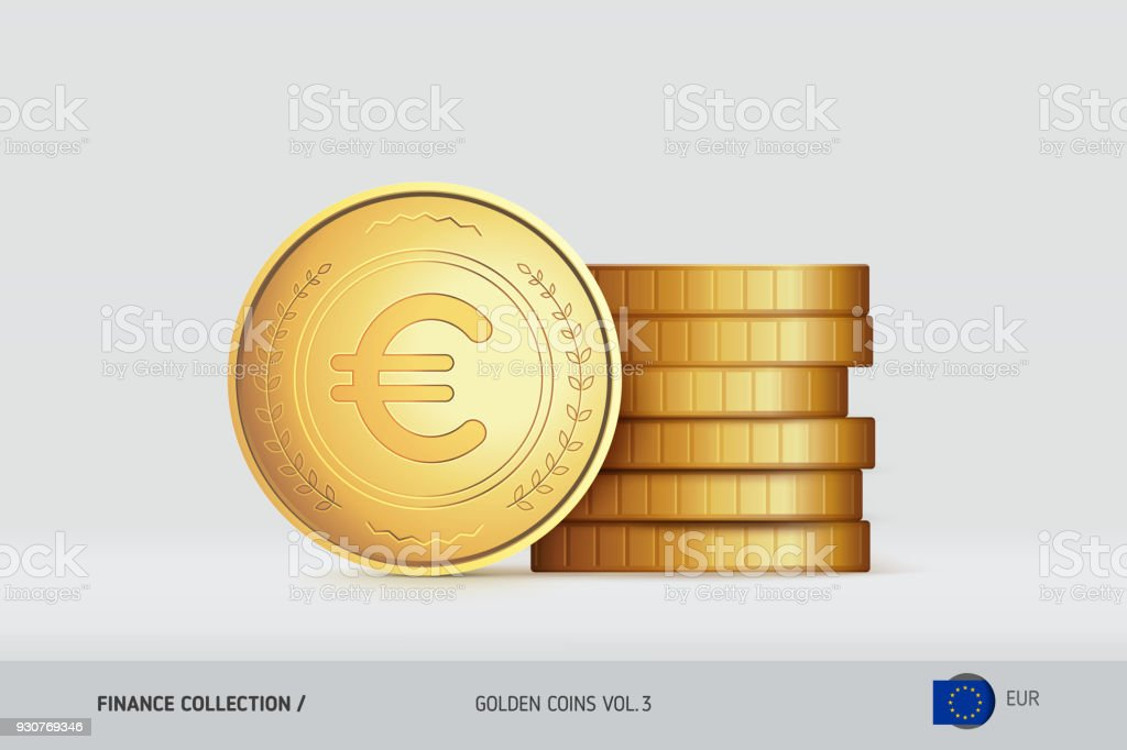Goldmünzen Realistischeuromünze Stand In Der Nähe Von Gestapelten