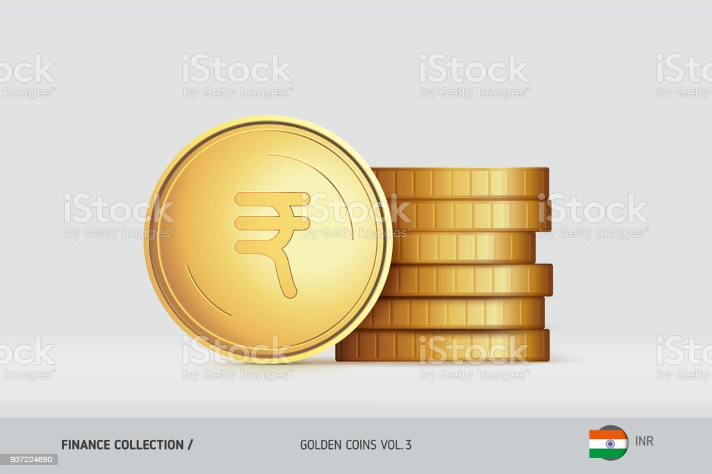 Goldmünzen Realistische Indische Rupiemünze Stand In Der Nähe Von