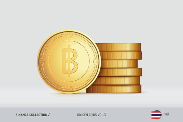 stockillustraties, clipart, cartoons en iconen met gouden munten. realistische thaise baht munt staande in de buurt van gestapelde munten. financiën concept voor infographics, websites, webdesign, mobiele app. - thaise munt