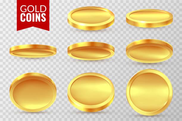 금화 세트입니다. 현실적인 황금 동전, 돈 현금 금융 지불 기호입니다. 빙고 잭 팟 카지노 달러 고립 된 벡터 노래 - 동전 stock illustrations