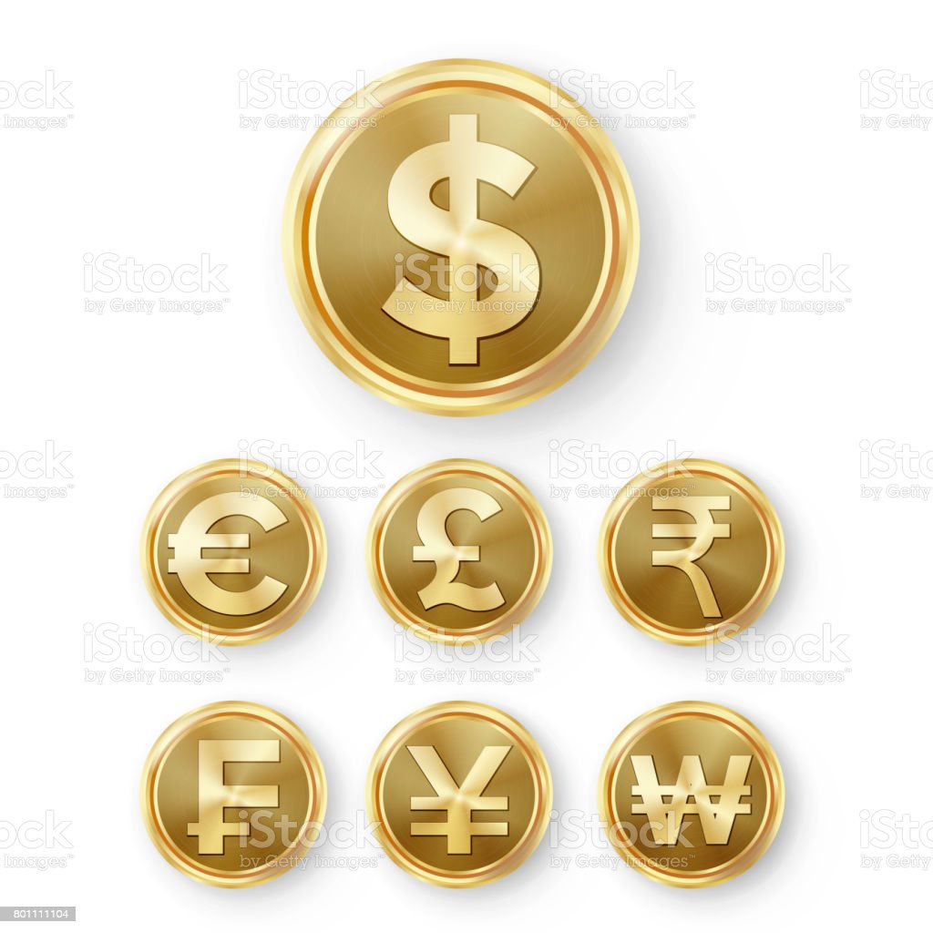 Goldenemünzen Gesetzt Vektor Realistische Geld Zeichen Illustration