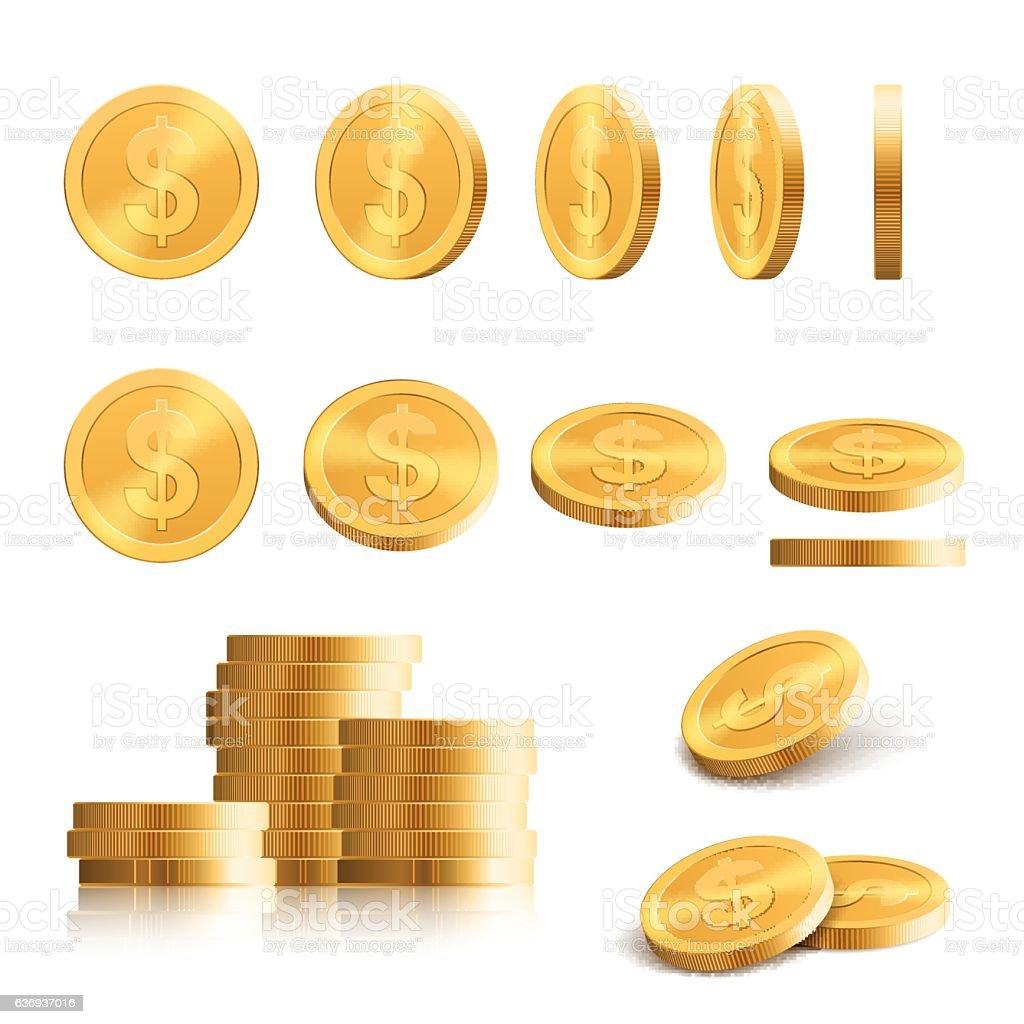 Gold coins shapes vector art illustration