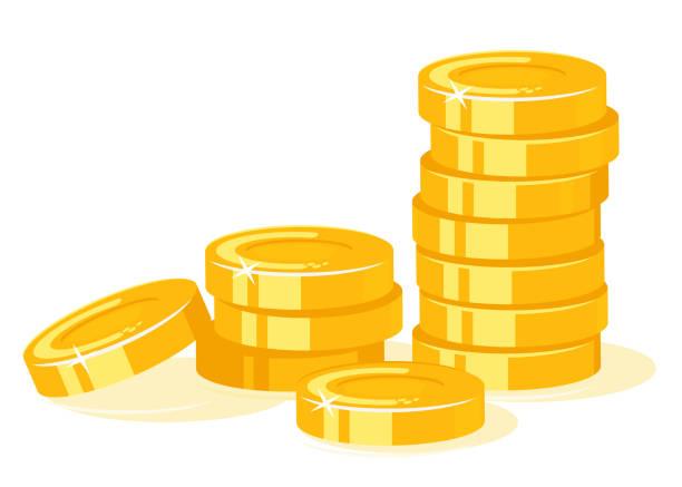 ilustrações, clipart, desenhos animados e ícones de pilha das moedas de ouro isolada - moeda
