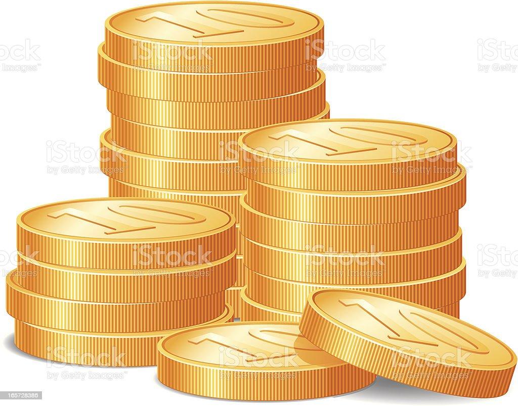 Gold Coins vector art illustration