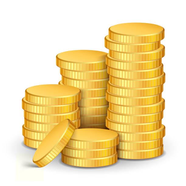 gold-münzen  - geldmünze stock-grafiken, -clipart, -cartoons und -symbole