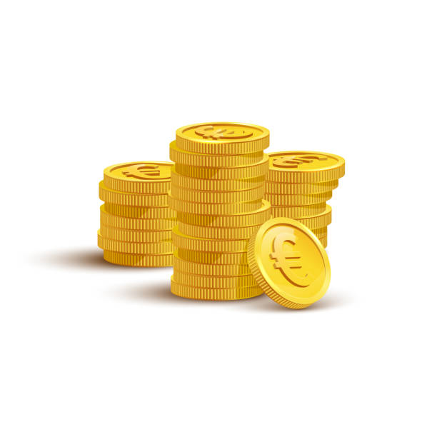Gold coins with euro sign flat vector illustration Gold coins with euro sign flat vector illustration. Savings, investment symbol. Currency of European Union, foreign money. Financial growth concept. Stack of golden coins isolated on white background euro symbol stock illustrations